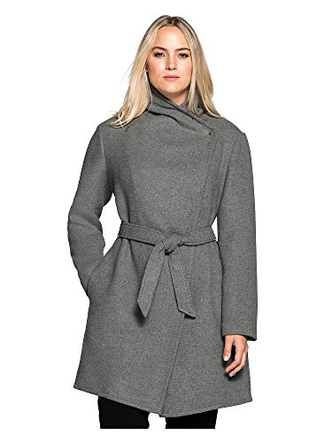 Sheego Kurzmantel Mantel Umhang Jacke Winterjacke Damen Plusgröße Lagenlook (46, grau)