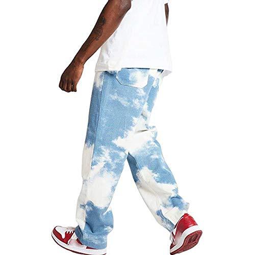 Herren Patchwork Jeans Casual Relaxed Fit Jeanshose Denim Hosen Y2K Hoch Taillierte Baggy Jeans Hose mit Weitem Bein Distressed Hose mit Geradem Bein Hip Hop Streetwear
