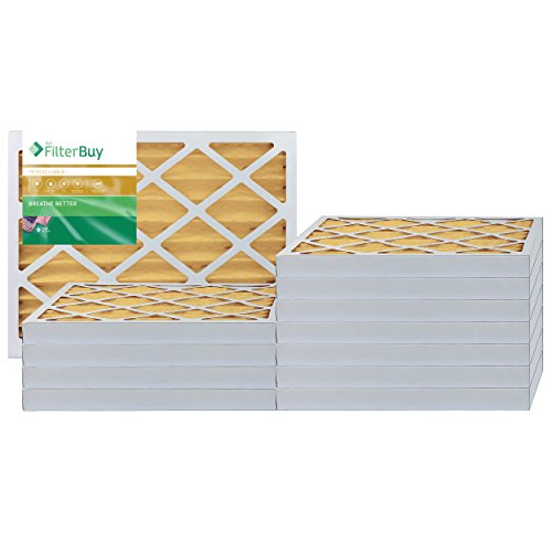 FilterBuy 16x20x2 Air Filter MERV 11, Pleated HVAC AC Furnace Filters (12-Pack, Gold)
