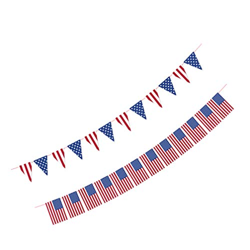 Amosfun 2pcs American Flag Banner String Paper USA Pennant Flag Banners for Patriotic Events 4th of July Independence Day Decoration Supplies Photo Props 18X12CM