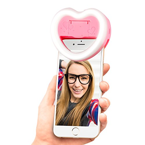 Photo Enhancing Selfie Light, Super Radiant 23 LED Lights Clip-On Heart-Shaped Ring Fill Light with Makeup Mirror 3 Brightness Mode for Smartphones (Pink)