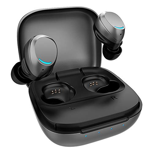 Wireless Earbuds,Bluetooth 5.0 Wireless Earbuds with Aerometal Material Wireless Charging Case IPX7 Waterproof TWS Stereo Headphones in-Ear Built-in Mic Headset Sound with Deep Bass (Space Gray)