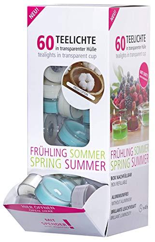 Smart-Planet® Juego de 60 velas de té perfumadas en dispensador Fresh Cotton – 4 horas de duración – funda transparente
