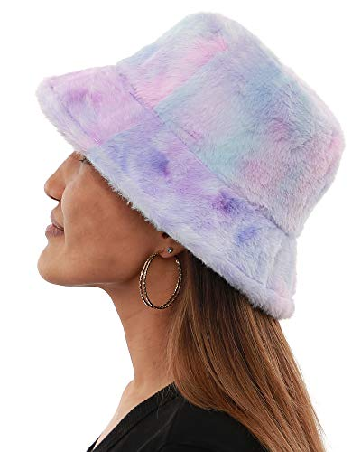 Bucket Hat Furry Plush Women Men Warm Caps Faux Fur Soft Outdoor Fisherman Hats Fashion Adjustable Tie dye Colorful Winter Spring( Purple/Blue/Pink