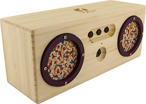 Bluetooth Lautsprecher klein, Mini Bluetooth Speaker Stereo, Musikbox, Lautsprecher Boxen Bluetooth tragbar mit Headset Funktion aus FSC zertifiziertem Bambus Holz, Micro USB, AUX