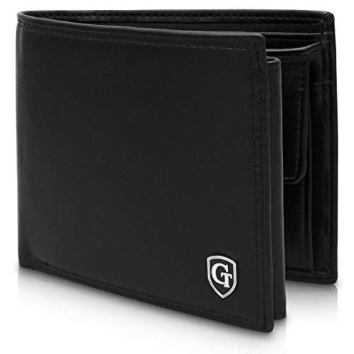 GenTo® Manhattan Herren Geldbörse mit Münzfach - TÜV geprüfter RFID, NFC Schutz - geräumiges Portemonnaie - Geldbeutel für Männer - Portmonaise inkl. Geschenkbox (Schwarz - Glatt)