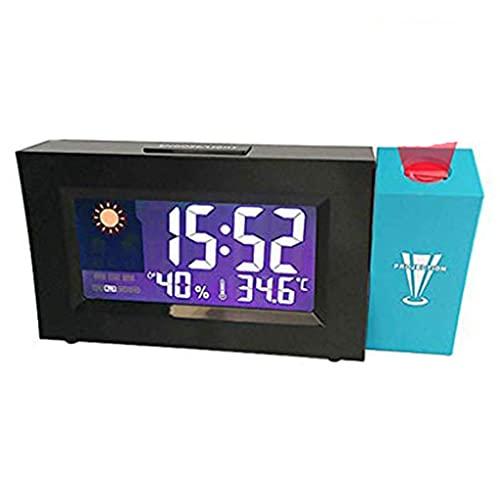 YUEXIN Reloj Despertador Digital Despertador Proyector Termómetro e Higrómetro Reloj Digital Multifunción para Sala de Estar del Dormitorio Oficina