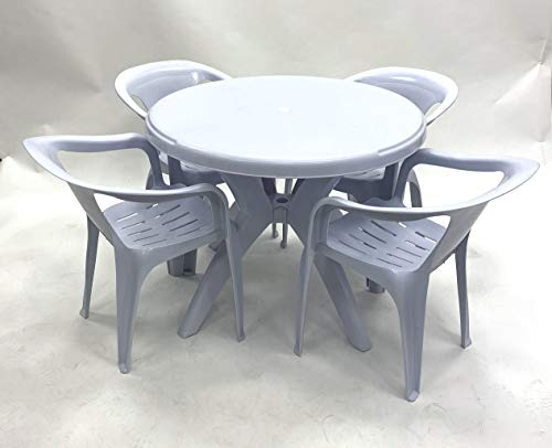 BE Furniture Patio Garden Sets Bistro, Balcony Sets - 4 x Patio Chairs. Outdoor Garden Dining Table and Chairs Set