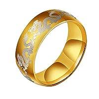Y-YING サージカル ステンレス メンズ リング 指輪 龍指輪 聖龍 男性用指輪 ドラゴンの柄 16号 色・イエロー
