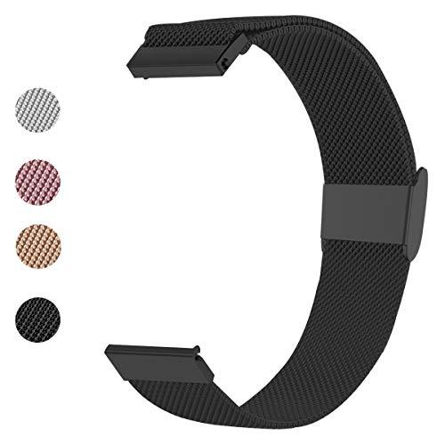ANNYOO Armband für Garmin Vivoactive 3/3 Music, 20 mm Stegbreite Mesh Edelstahl Uhrenarmband Metall Armband für Galaxy Watch Active/Gear Sport/Forerunner 245/645 Music (Schwarz)