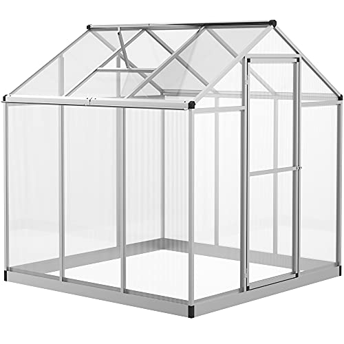 Outsunny Clear Polycarbonate Greenhouse Aluminium Frame Large Walk-In Garden Plants Grow 6 x 6ft