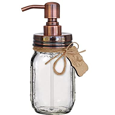 Premium Rust Proof 304 18/8 Stainless Steel Mason Jar Soap Pump/Lotion Dispenser | Modern Farmhouse | 16 oz (Regular Mouth) Glass Mason Jar (Brushed Copper)