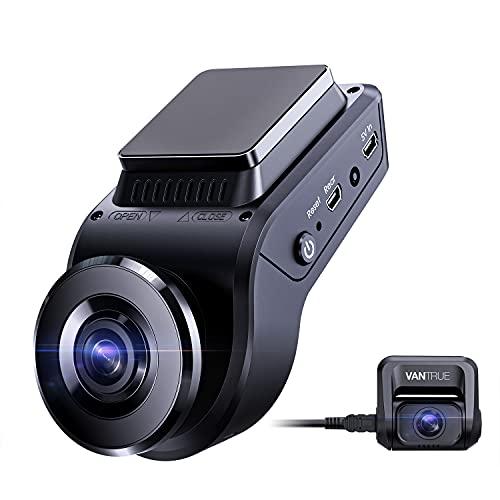 Vantrue S1 4K versteckte Dashcam mit integrierter GPS-Geschwindigkeit, Dual 1080P Autokamera vorne und hinten mit 24/7 Parkmodus, Sony Nachtsicht, Single Front 60fps, Kondensator, G-Sensor, unterstützt max. 256 GB für LKW.