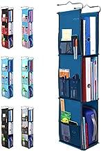 3 Shelf Hanging Locker Organizer for School, Gym, Work, Storage - Upgraded | Abra Company | Eco-Friendly Fabric Healthy for Children | Adjustable School Locker Shelf from 3 to 2 Shelves (Navy Blue)