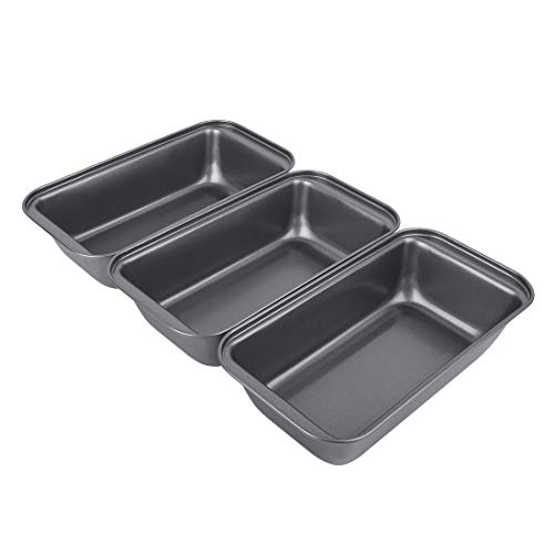 Nonstick Carbon Steel Baking Bread Pan, Medium Loaf Pan, 8 1/2' x 4 1/2', Set of 3