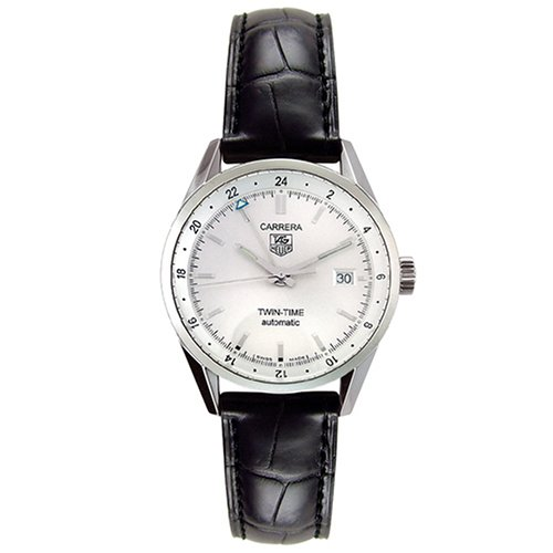 TAG Heuer Men's WV2116.FC6180 Carerra Calibre 7 Twin Time Automatic White Dial Black Crocodile Watch