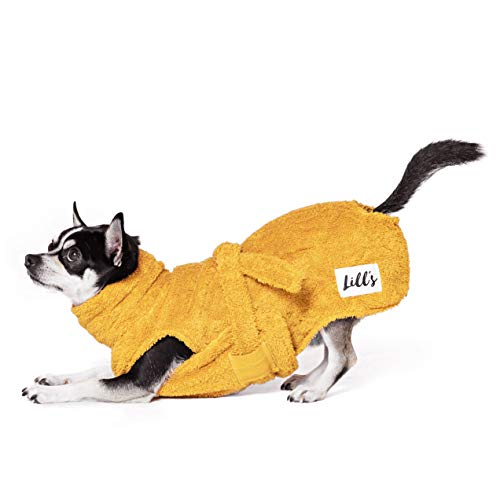 Lill's Hundebademantel, 100% Bio-Baumwolle, Organic Amber (Gelb) (XXXS)
