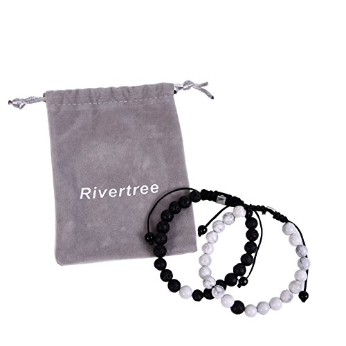 Black Lava Rock White Howlite beads with Braided Rope Adjustable - Distance Bracelets Couples Relationship Best Friend Set of 2