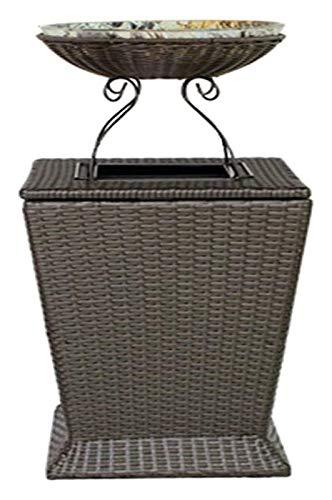 BDBT Cenicero de Exterior Papelera Papelera de Reciclaje al Aire Libre Puede Resina de Mimbre Bote de Basura con Tiesto for la Cubierta o el Patio del Bote de Basura