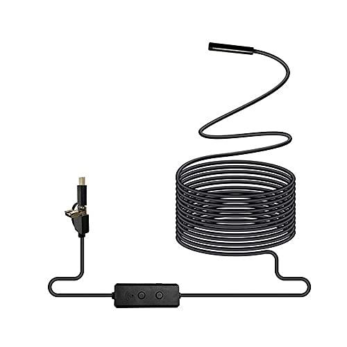 DealMux Endoscopio 3 en 1 Cámara de inspección de endoscopio semirrígida Cámara de serpiente impermeable CMOS HD de 2.0MP con 8 LED ajustables (Color: Duro, Tamaño: 3.5 metros)