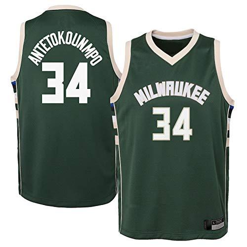 MZYW Camiseta de baloncesto personalizada #34 verde, camiseta de secado rápido para niños, edición Icon