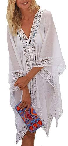 FreestyleMo FSMO Damen Strandponcho Sommer Elegant Spitzen Tunika Bikini Cover Up Boho Strandkleid (Einheitsgröße, Weiß)