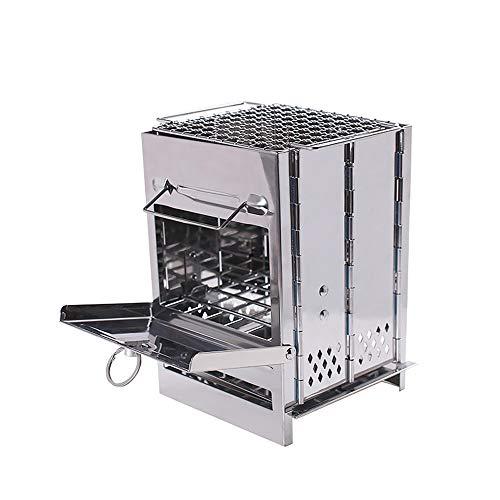 LOCGFF Grillkocher aus rostfreiem Stahl für den Außenbereich, Winddicht und leicht zu lagern, für alle Outdoor-Abenteuer Faltkocher aus rostfreiem Stahl