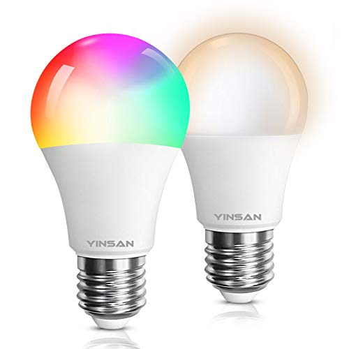 YINSAN Smart LED Lampe, WLAN 2er Pack Mehrfarbige Leuchtmittel Dimmbare 8.5W nur fuer weiß E27 Wifi LED RGBW Birne Kompatibel mit Amazon Alexa, Google Home, für Haus Dekoration, Bühne, Bettlampe