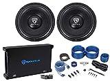 (2) Rockville W12K6D2 V2 12' 4800w Car Audio Subwoofers+Mono Amplifier+Amp Kit
