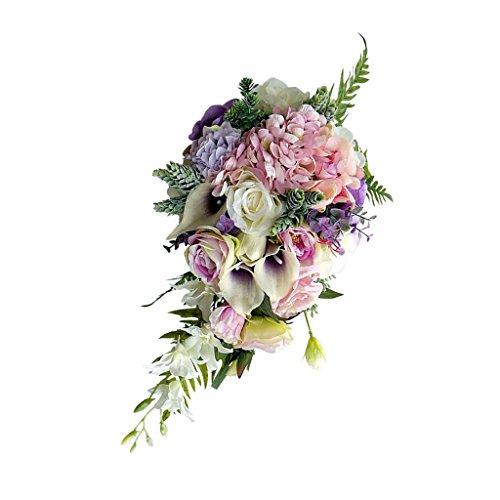 LOVIVER Vintage Wasserfall Stil Brautstrauß Künstliche Hand Blume Hochzeit Prom