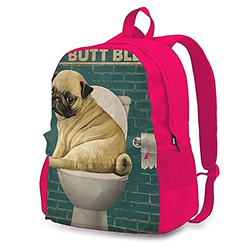 OYQGEJGPJA Pug I Didnt Fart My Butt Blew You A Kiss Novelty Youth Backpack School Bag for Hiking