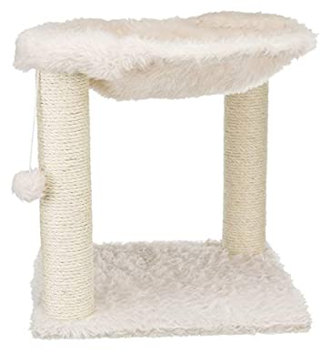 Trixie Baza Scratching Post with Hammock XXL, Dangling Pom-Pom, for Large Cats, Cream (44552)