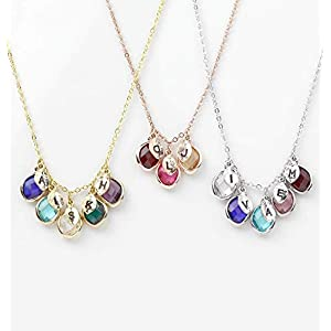 Gift for Her Personalized Birthstone Necklace Mothers Day Jewelry Initial Necklace for Women Birthstone Gift Grandma…
