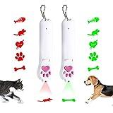 Juguetes para Gatos Puntero LED 2 Pack USB Recargable Juguetes para atrapar Gatos con 5 Patrones y Manchas de orina con Control de luz púrpura, Juguetes para perseguir Gatos (Verde + Rojo)