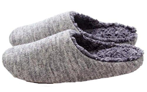 [pkpohs] ルームシューズ 裏起毛 冬用 室内履き スリッパ 暖かい メンズ レディース ふわもこ シンプル (メンズ, グレー)