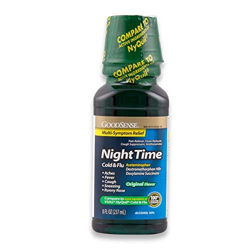 GoodSense Nighttime Cold & Flu Relief, Pain Reliever, Fever Reducer, Cough Suppressant & Antihistamine, 8 Fluid Ounces