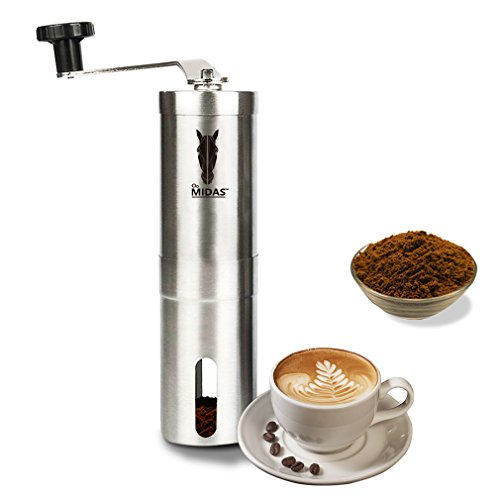 wingsbro Midas Upgrade-Grind - Strongest and Heaviest Duty Portable Conical Burr Mill, Whole Bean Manual Coffee Grinder for French Press, Turkish, Handheld Mini, K Cup, Brushed Stainless Steel