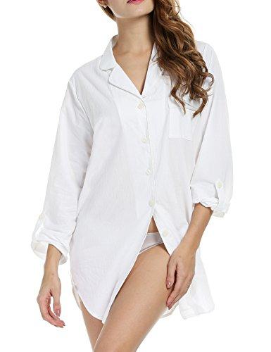 Avidlove Avidlove Damen Viktorianisch Nachthemd T-shirt Luxus Nachtwäsche- Gr. XL, Langarm 2: Weiß