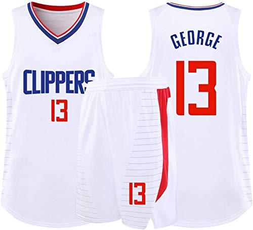 YB-DD NBA Herren-Basketball-Jersey - NBA Trikot Clippers # 13 George Erwachsene Kinder Unisex Breath Basketball-Kleidung stellte Sportkleidung (XS-5XL),Weiß,3XL (75~85kg)