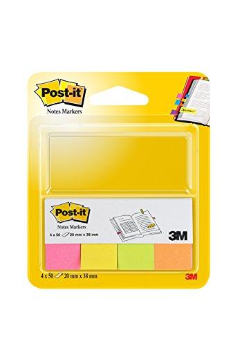 Post-it - Pack de 4 blocs mininotas Neón, 50 hojas/bloc, colores surtidos: amarillo, naranja, rosa y verde