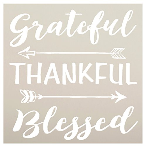 Grateful Thankful Blessed Stencil with Arrows by StudioR12   Reusable Word Template for Painting on Wood   DIY Home Decor   Thanksgiving Signs   Fall and Autumn   Mixed Media  Select Size (9