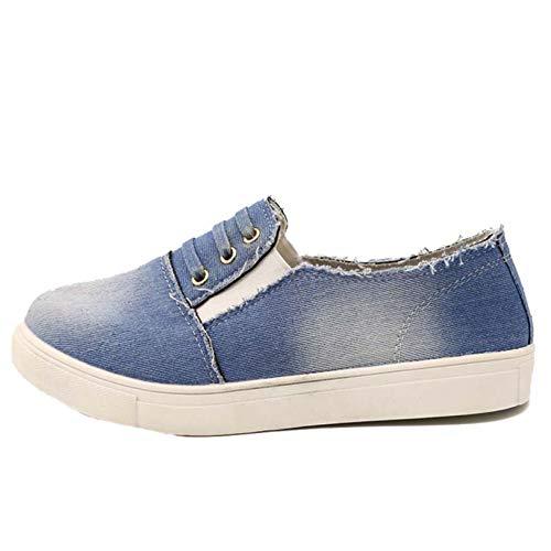 Zapatos Casuales de Mezclilla para Mujer Zapatos de cuña Antideslizantes Antideslizantes de tacón bajo de Color sólido para Caminar Todos los días