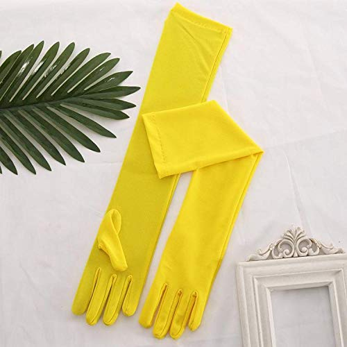 guanti gialli GBSTA Guanti da sposa Stretch Satin Bianco Lungo da sposa Nero Rosso Lunghezza al gomito Donna Dance Party Dito completo