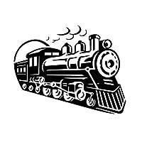カーステッカー 16.1CM * 12.8CM繊細なレトロ列車太い煙Vinlyデカール豪華なインテリアカーステッカー眩しいブラック/シルバー カーステッカー (Color Name : Black)
