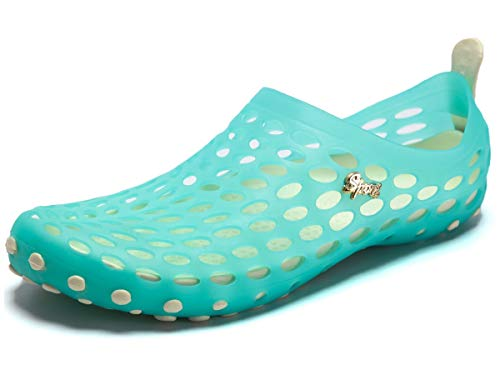 PAIRLERS Women's Soft Beach Sandals Pull-On Aerobic Water Shoes (6.5 B(M) US, Sky_Blue)