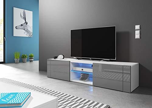 Wohnideebilder Sideboard Lowboard TV Fernsehschrank HIT 140 cm Kommode inkl LED Highboard NEU (Korpus matt weiß/Front grau Hochglanz)