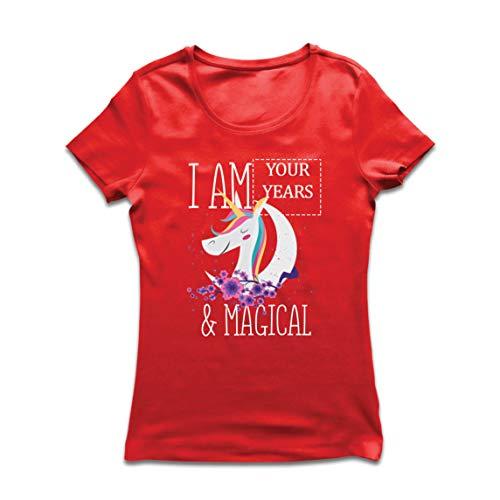lepni.me Camiseta Mujer Soy un Regalo de cumpleaños mágico de Unicornio de los años de Costumbre (Medium Rojo Multicolor)