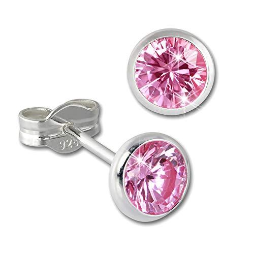 SilberDream Ohrstecker für Damen 925 Silber rosa Zirkonia Ohrringe 5mm D3SDO5535A Silber, Zirkonia Ohrschmuck für die Frau