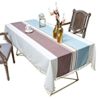 長方形のテーブルクロス、ヘビーウェイトのコットンリネンテーブルクロス、タッセル付き防塵テーブルカバー、パーティーキッチン用、ウェディング、ベビーシャワー、ダイニングテーブル,ブラウン,140*300cm