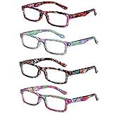 LGQ 4er Pack Mode Blumenmuster Lesebrille, hochauflösende Harzlinse, quadratische Rahmen Herren-...
